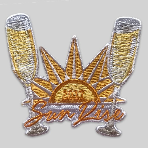 Embroidered patch glass and sun