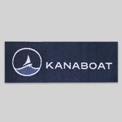 Woven neck label navy